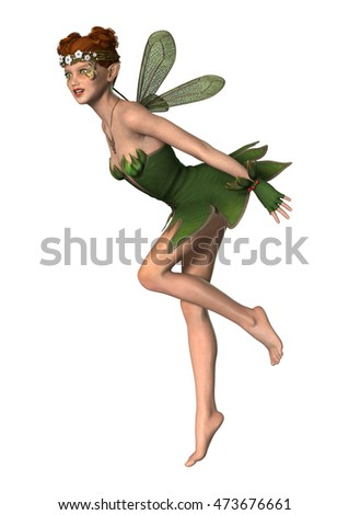 3D rendering of a beautiful spring fairy isolated on white background