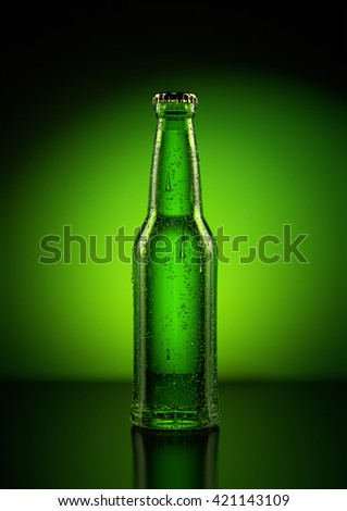 3D Rendering of a beer bottle  - stock photo