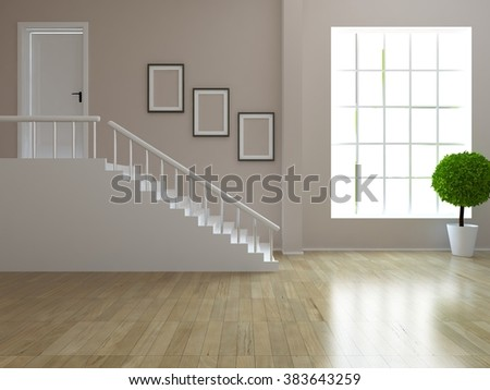 3D rendering of a beige empty interior with a stairs - stock photo