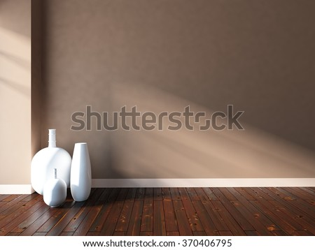 3D rendering of a beige empty interior with white vases - stock photo