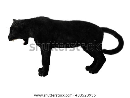 3D rendering of a big cat black panther isolated on white background