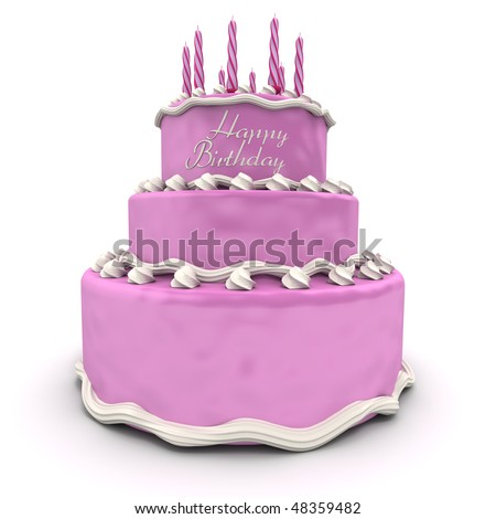 3D rendering of a big pink birthday cake