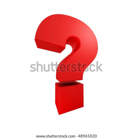 3D rendering of a big red question mark