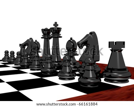 3D rendering of a black chess set