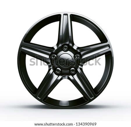 3d rendering of a black rim seen straight on