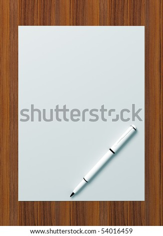 3d rendering of a blank paper with pen on wooden surface
