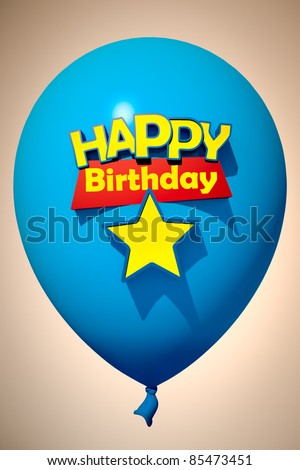 3D rendering of a blue balloon with the words happy birthday and a star to insert a number