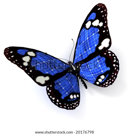 3D rendering of a  blue butterfly with solar panel texture - stock photo