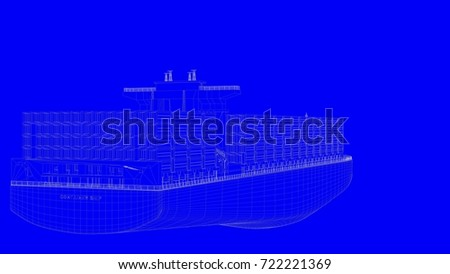 3d rendering of a blue print ship in white lines on a blue background