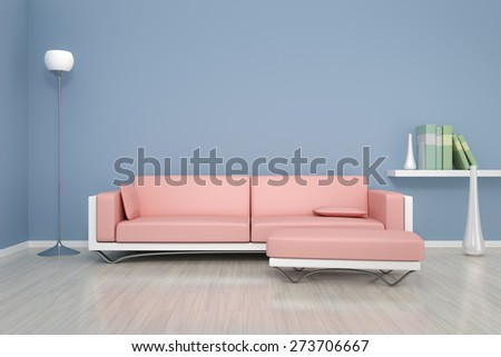 3 D Rendering Blue Room Sofa Background Stock Illustration 273706667 ...