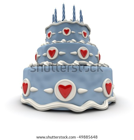 3D rendering of a Blue three tiered cake with red hearts and candles - stock photo