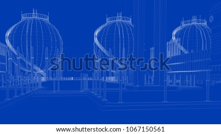 3 d rendering blueprint industrial city detailed stock illustration 3d rendering of a blueprint industrial city with detailed objects malvernweather Image collections
