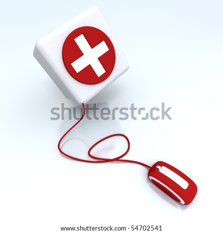 3D rendering of a box with a cross in red and white connected to a computer mouse - stock photo