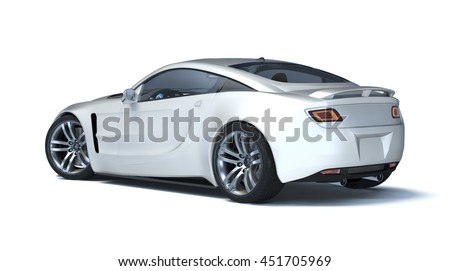 3D rendering of a brand-less generic concept car in studio environment.