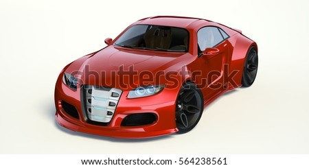 3d rendering of a brand less generic concept car in studio environment