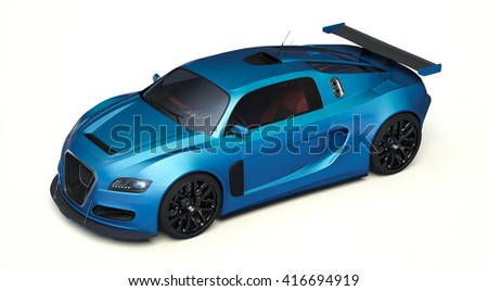 3D rendering of a brand-less generic concept racing car in studio environment. No trademark issues as the car is my own design. The car does not exist in real life