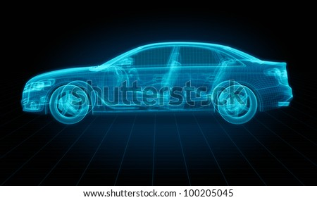3d rendering of a brandless generic car of my own design. - stock photo