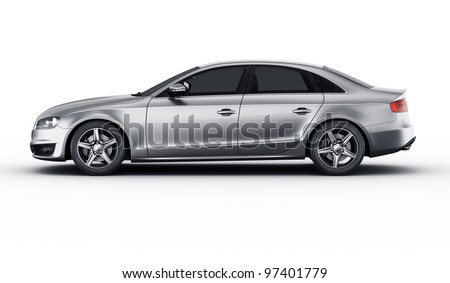 3d rendering of a brandless generic silver car of my own design in a studio environment - stock photo