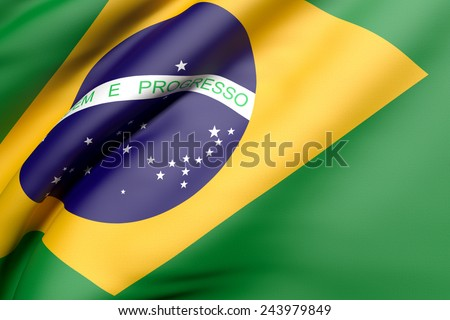 3d rendering of a brazil flag