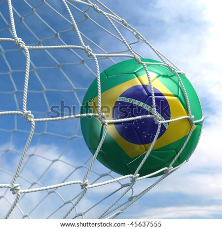 3d rendering of a Brazilian soccer ball in a net - stock photo