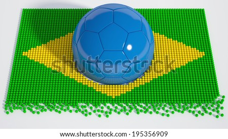 3d rendering of a Brazilian soccer ball isolated on a white background - stock photo