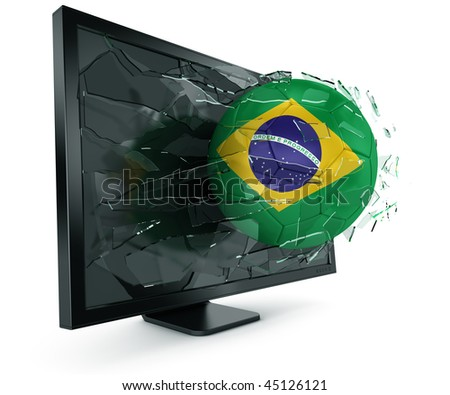 3d rendering of a Brazilian soccerball breaking through monitor - stock photo