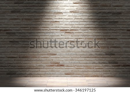 3d rendering of a brick wall and lighted floor. Interior. Loft - stock photo