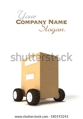 3D rendering of a Brown cardboard box with wheels - stock photo