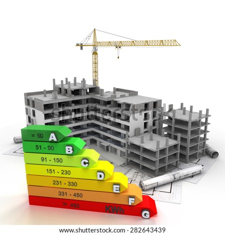 3D rendering of a building in construction , with a crane and an energy efficiency rating chart - stock photo
