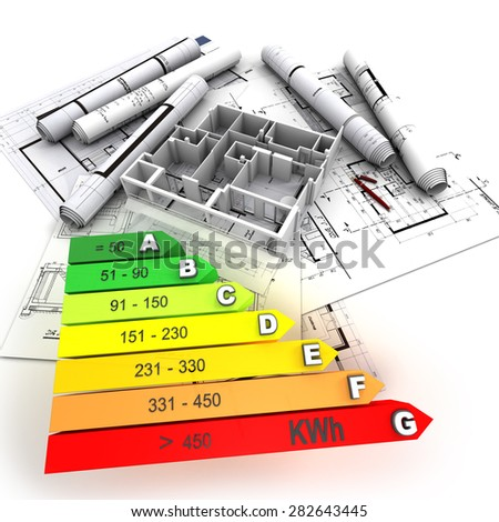 3D rendering of a building in construction, with an energy efficiency rating chart - stock photo