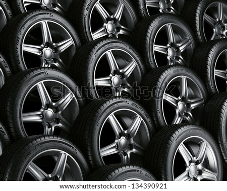 3d rendering of a car tires - stock photo