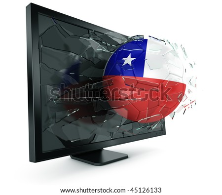 3d rendering of a Chilean soccerball breaking through monitor - stock photo