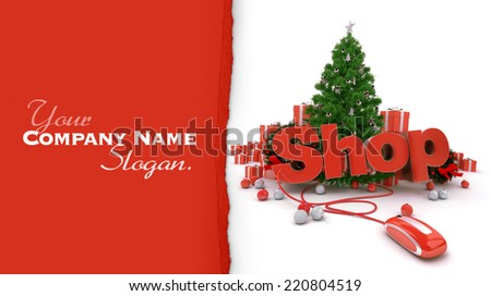 3D rendering of a Christmas decor, and the word shop connected to a computer mouse - stock photo