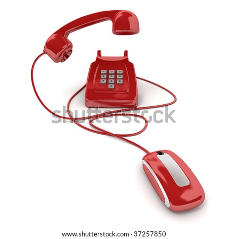 3D rendering of a classic red telephone connected to a computer mouse - stock photo