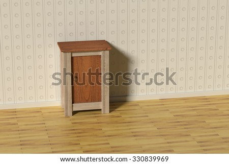 3d rendering of a classic scene with a nightstand