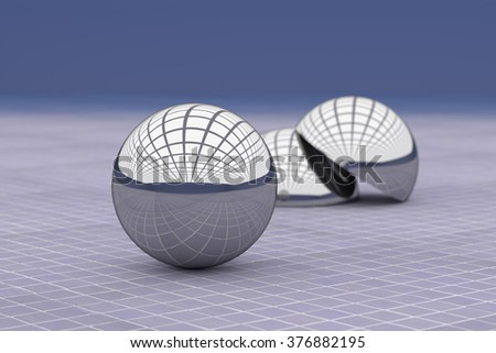 3d rendering of a close-up of metal balls reflecting glass ceiling. Glazed tile floor - stock photo