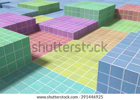 3d rendering of a close-up of tiled glazed floor made of volume cubes of different colors. From above