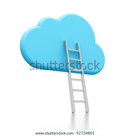 3D rendering of a cloud shape and ladder illustrating cloud computing - stock photo
