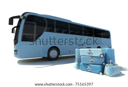 3D rendering of a coach bus and a pile of luggage in pale blue shades