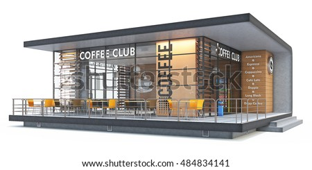 3 d rendering coffee shop on white ilustracin de stock484834141 3d rendering of a coffee shop on white background malvernweather Image collections