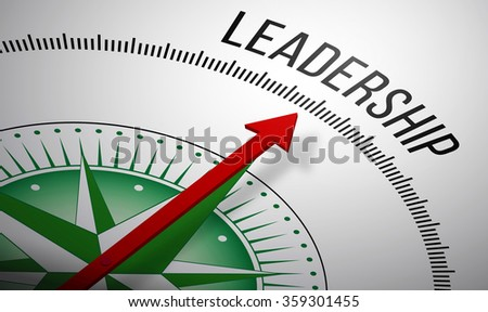 3D rendering of a compass with a Leadership icon. - stock photo
