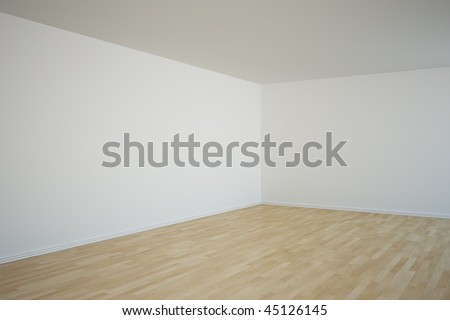 3d rendering of a corner in an empty room - stock photo