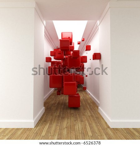 3D rendering of a corridor with red cubes floating in the air - stock photo
