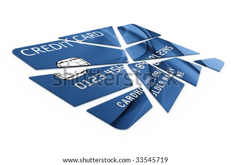 3d rendering of a credit card cut into pieces - stock photo