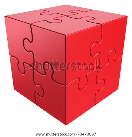 3d rendering of a cube made of puzzle pieces - stock photo