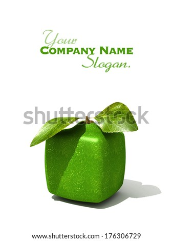 3D rendering of a cubic lime on a white background - stock photo
