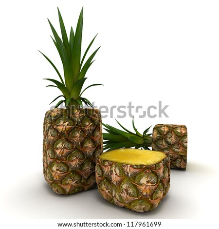 3D rendering of a cubic shaped pineapple - stock photo