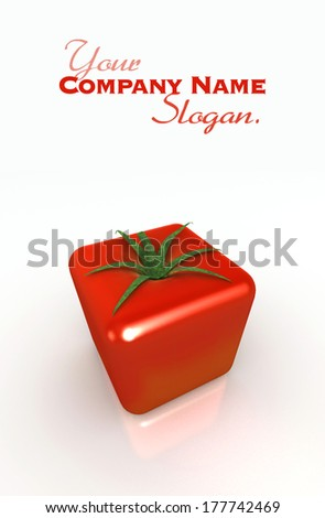 3D rendering of a cubic tomato on a white background  - stock photo