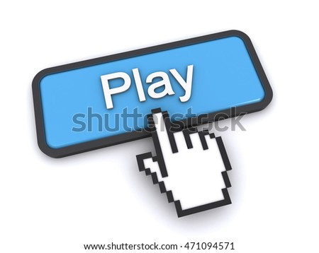 3d rendering of a cursor clicking on play button