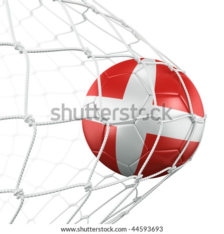 3d rendering of a Danish soccer ball in a net - stock photo